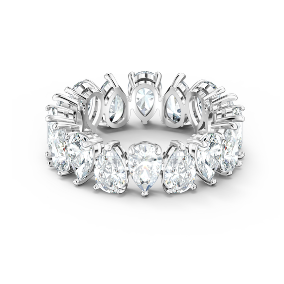 Vittore Pear Ring, White, Rhodium plated