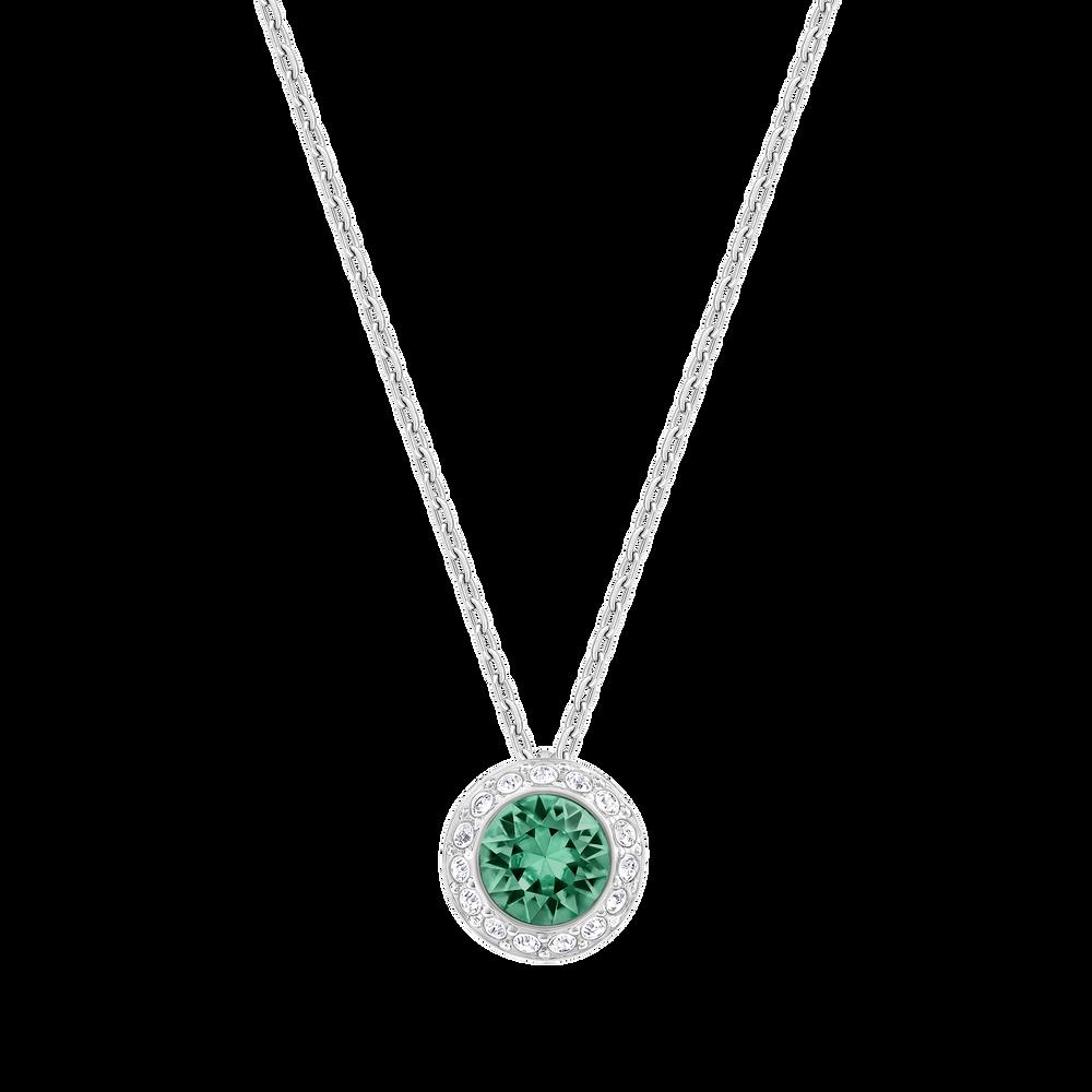 Angelic Pendant, Green, Rhodium plating
