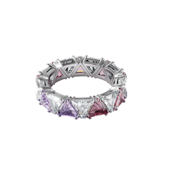 Millenia cocktail ring, Triangle cut crystals, Purple, Rhodium plated