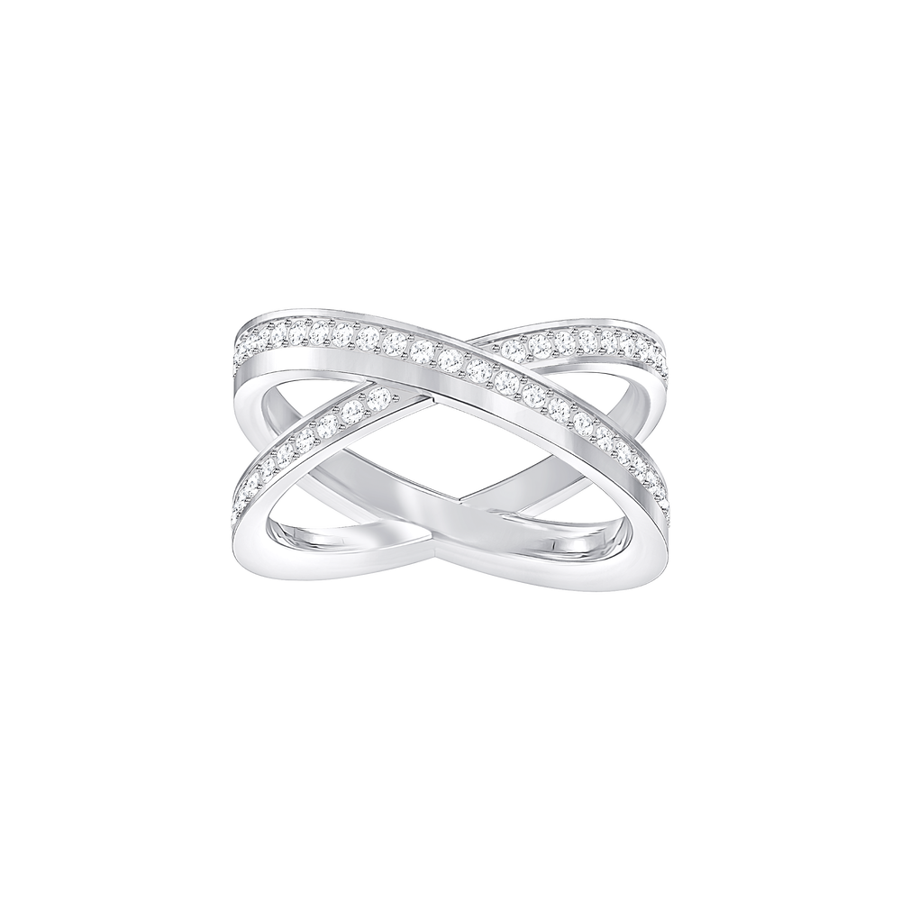 Delta Cross Ring, White, Rhodium plating