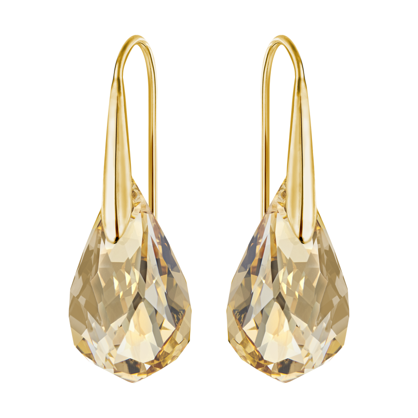Energic Pierced Earrings, Golden, Gold Plating