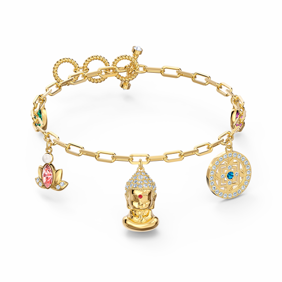 Swarovski Symbolic Buddha Bracelet, Light multi-colored, Gold-tone plated