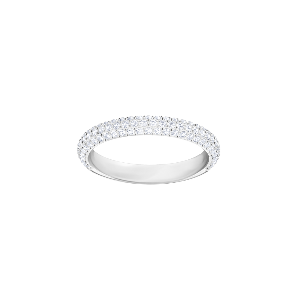 Stone Mini Ring, White, Rhodium Plating