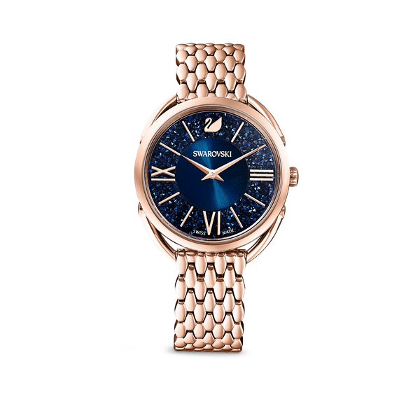 Crystalline Glam Watch, Metal Bracelet, Blue, Rose-gold tone PVD