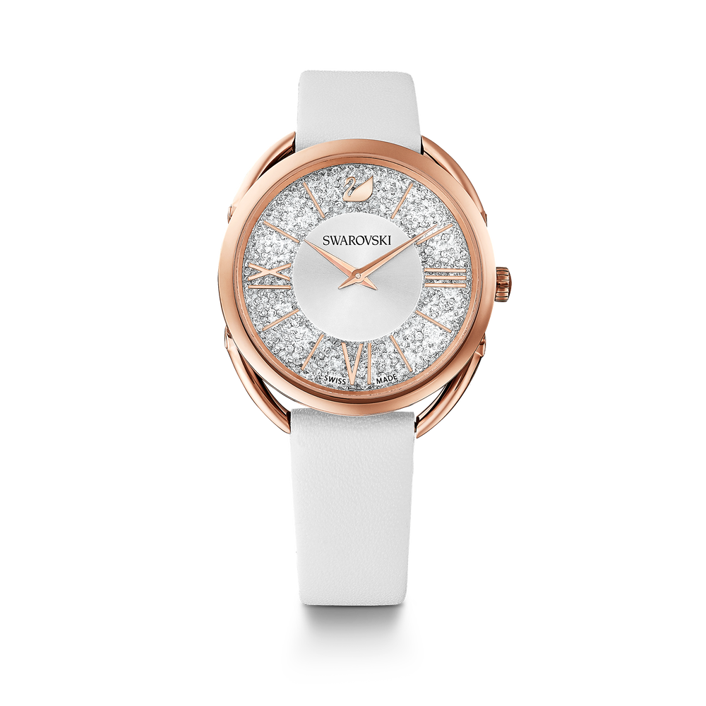 Crystalline Glam Watch, Leather Strap, White, Rose gold tone