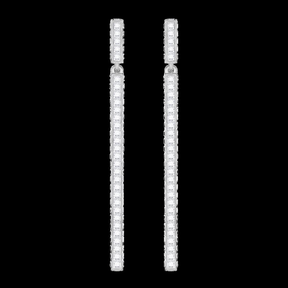 Game Pierced Earrings, White, Rhodium Plating