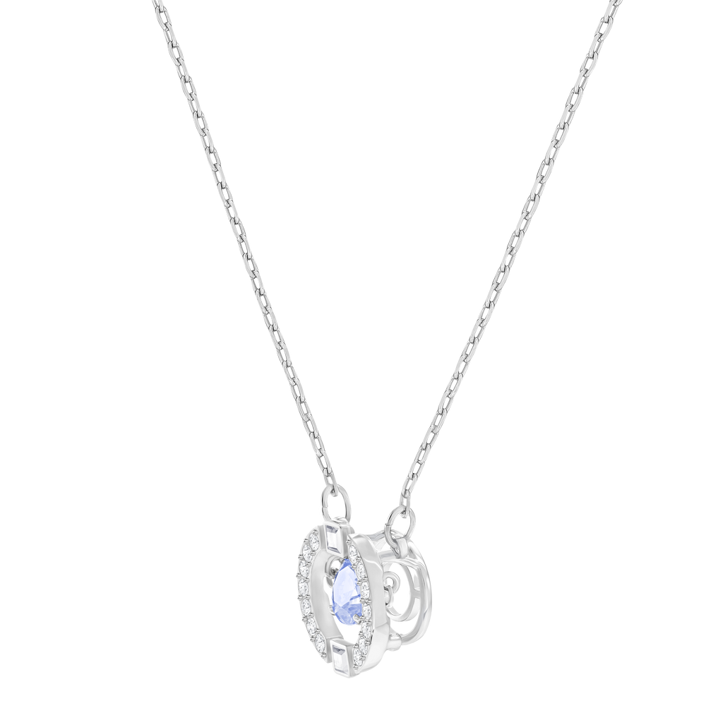 Sparkling Dance Round Necklace, Blue, Rhodium Plated