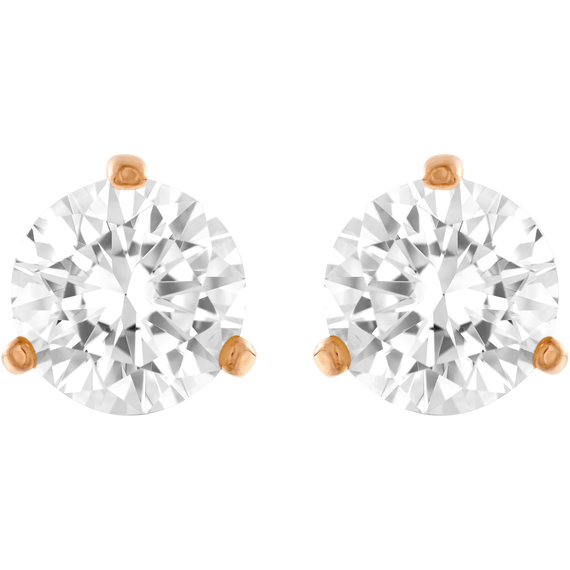 Solitaire Pierced Earrings, White, Rose Gold Plated
