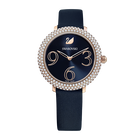 Crystal Frost Watch, Leather Strap, Blue, Rose-gold tone PVD