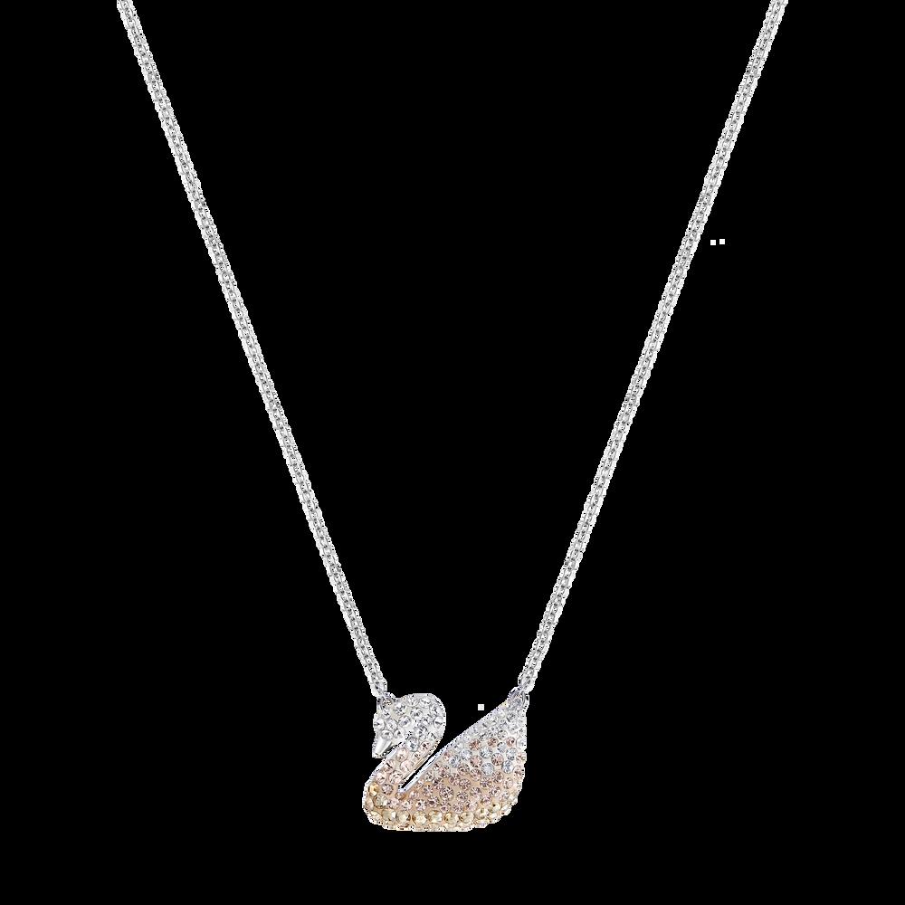 Iconic Swan Pendant, Multi-Coloured, Rhodium Plated
