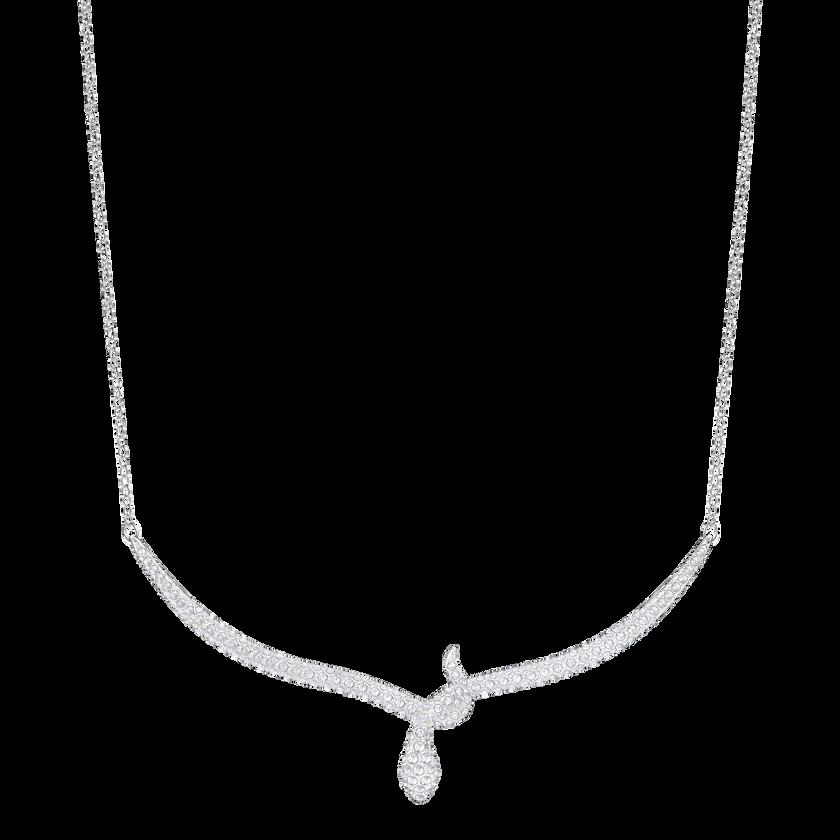 Leslie Necklace, White, Rhodium Plating