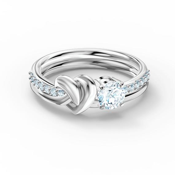 Lifelong Heart Ring, White, Rhodium plated