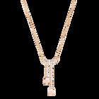 Vintage Y Necklace, White, Rose gold plating