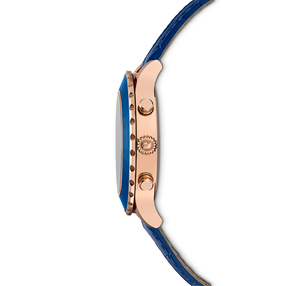 Octea Lux Chrono Watch, Leather strap, Blue, Rose-gold tone PVD