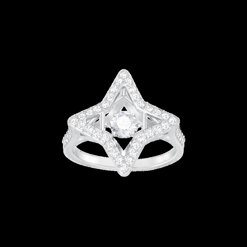 Sparkling Dance Star Ring, White, Rhodium plated