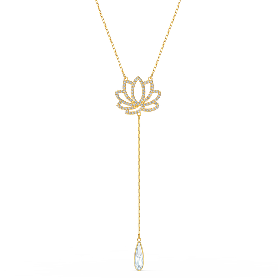 Swarovski Symbolic Lotus Necklace, White, Gold-tone plated
