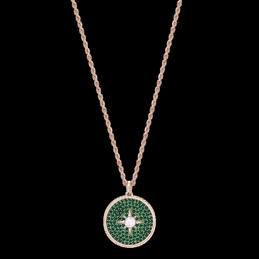 Locket Pendant, Green, Rose-gold tone plated