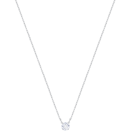 Attract Round Necklace, White, Rhodium Plating