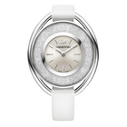 Crystalline Oval Watch, Leather strap, White, Silver Tone