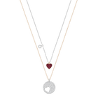 Crystal Wishes Heart Pendant Set, Red, Mixed plating