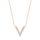 Delta Necklace, Small, White, Rose-gold tone plated