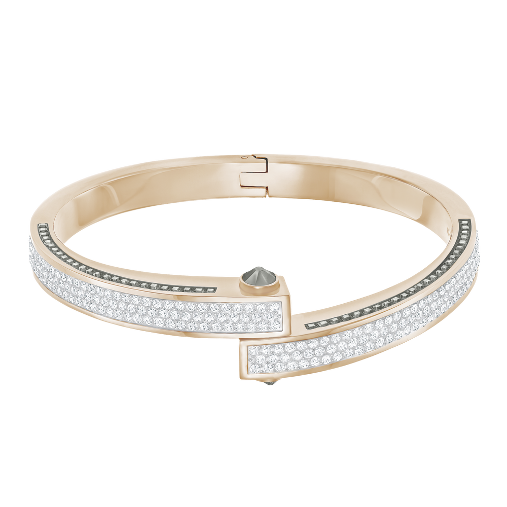 Get Wide Bangle, White, Rose-gold tone plated