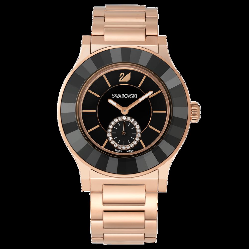 Octea Classica Watch, Metal bracelet, Black, Rose gold tone