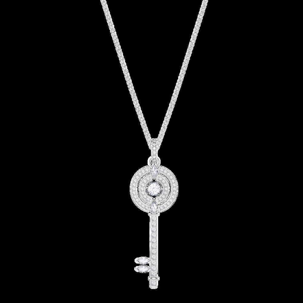Sparkling Dance Key Pendant, White, Rhodium Plating
