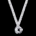Crescent Star Pendant, White, Rhodium plated