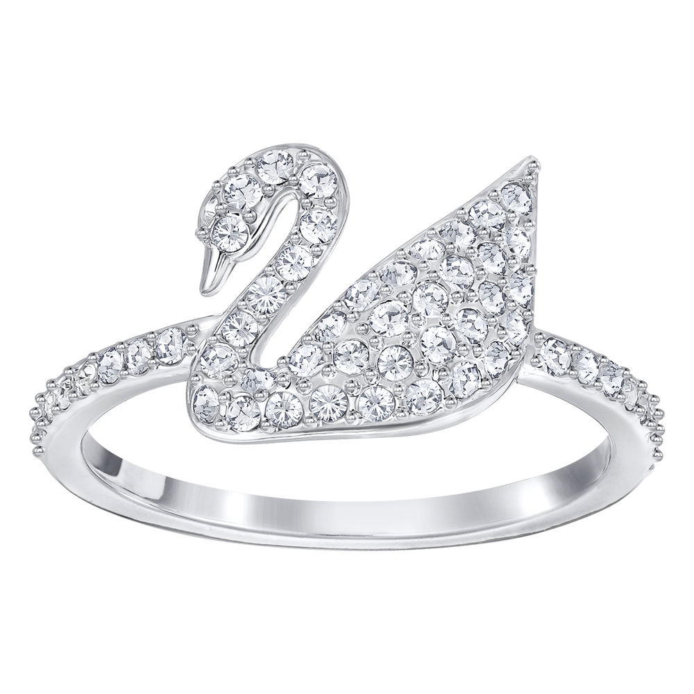Iconic Swan Ring, White, Rhodium Plated