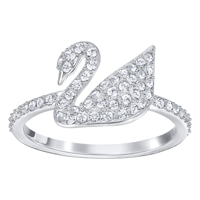Iconic Swan Ring, White, Rhodium Plated
