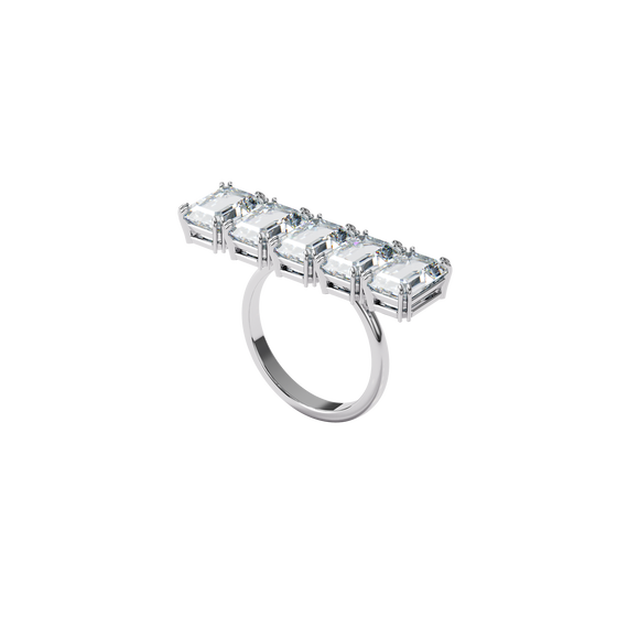Millenia cocktail ring, White, Rhodium plated