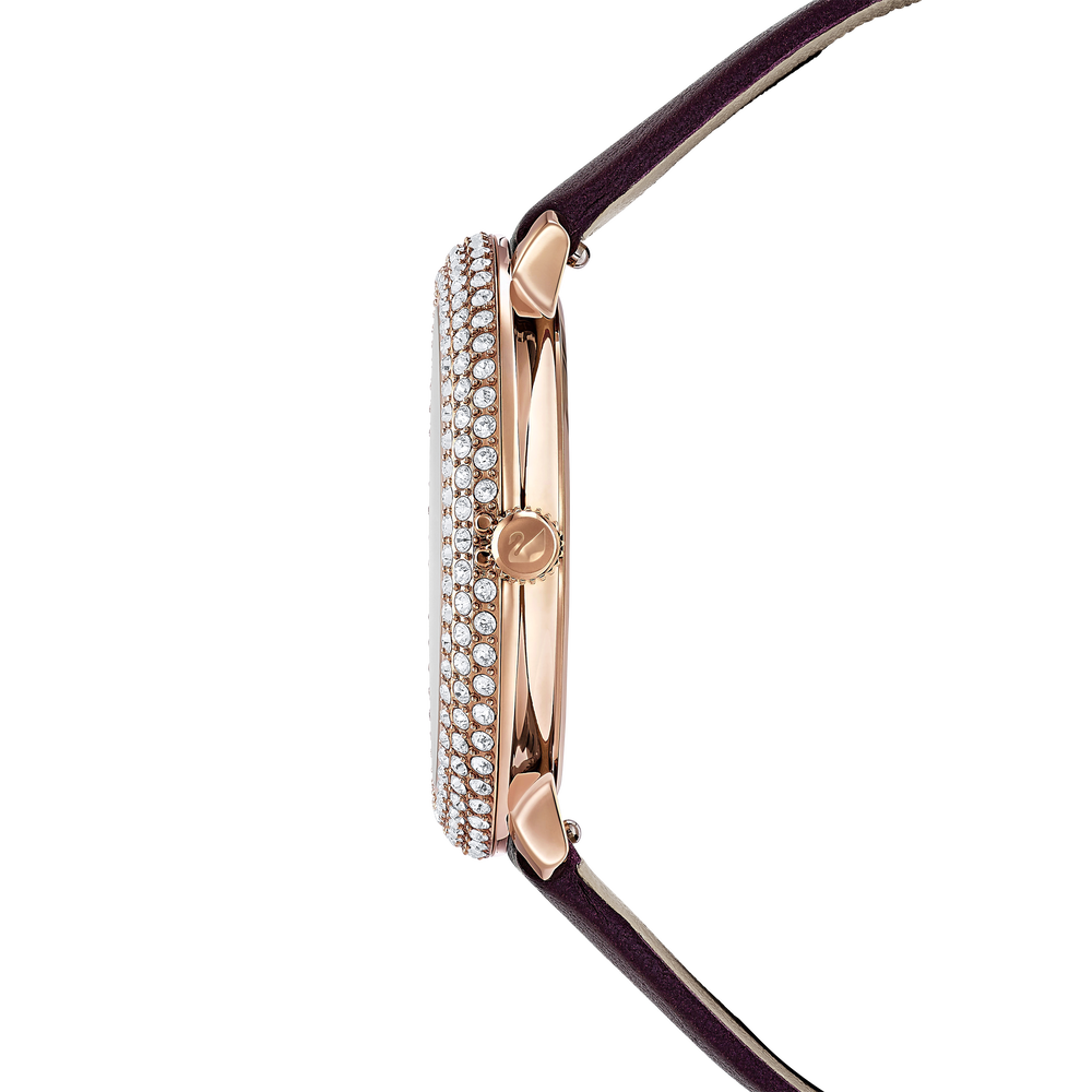 Crystal Frost Watch, Leather Strap, Dark red, Rose-gold tone PVD