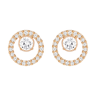 Creativity Circle Pierced Earrings, Small, White, Rose Gold Plated