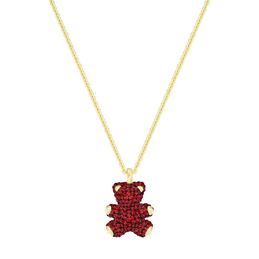 Teddy 3D Pendant, Red, Gold Plated