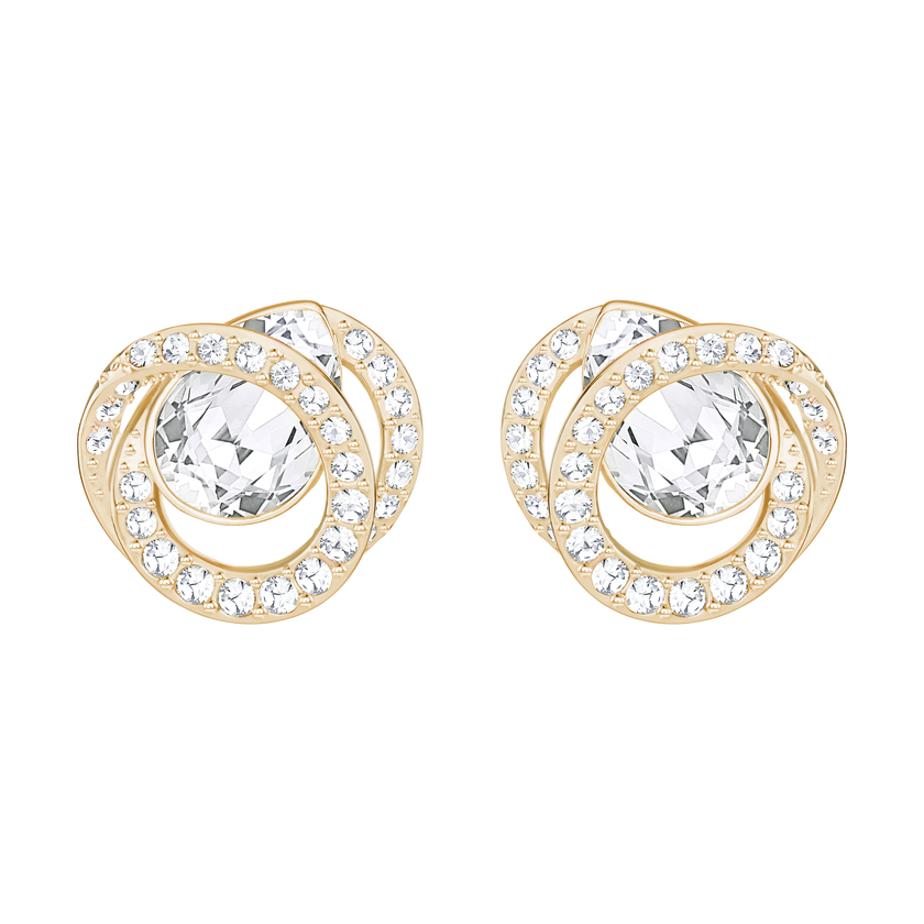 Generation Pierced Earrings, White, Rose Gold Plating