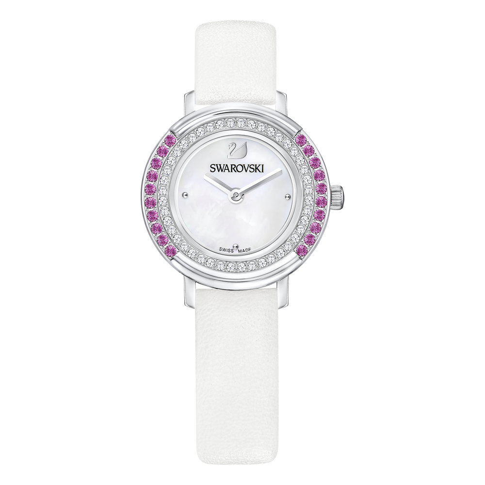 Playful Mini Watch, Leather strap, White, Silver Tone