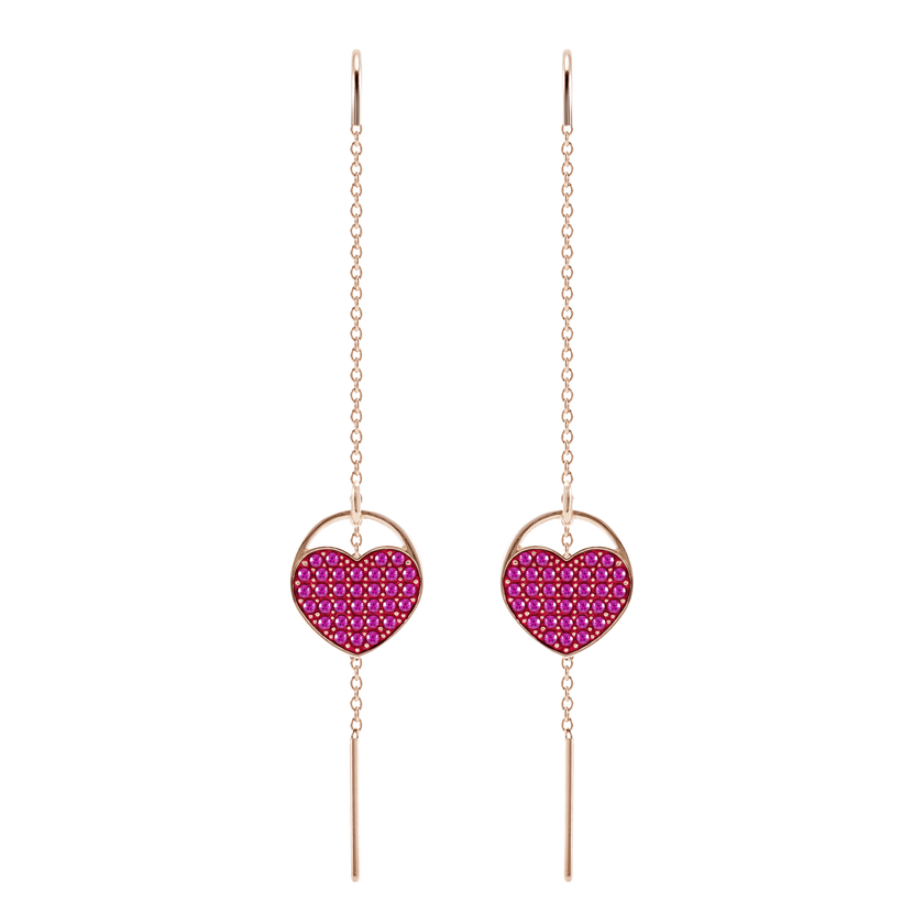 Ginger Pierced Earrings, Pink, Rose gold plating