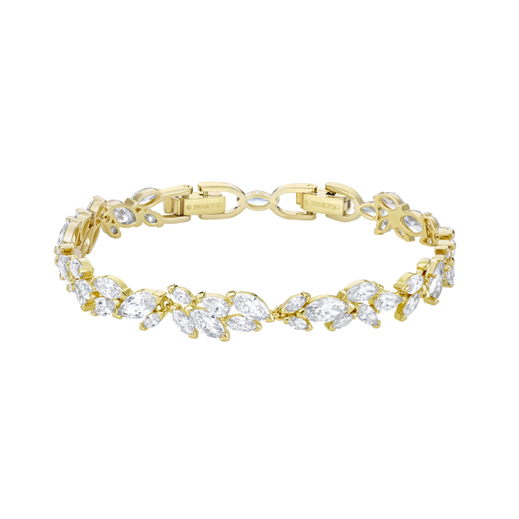Louison Bracelet, White, Gold-tone plated