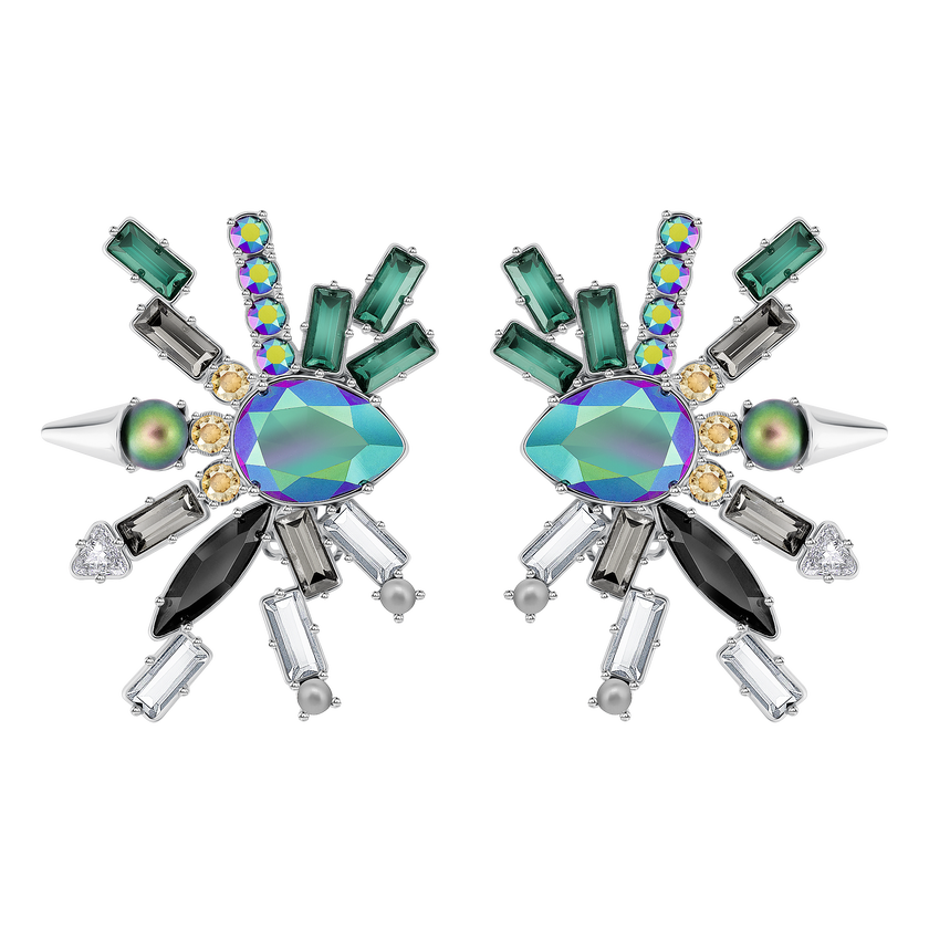 Helen Clip Earrings, Multi-colored, Palladium plating