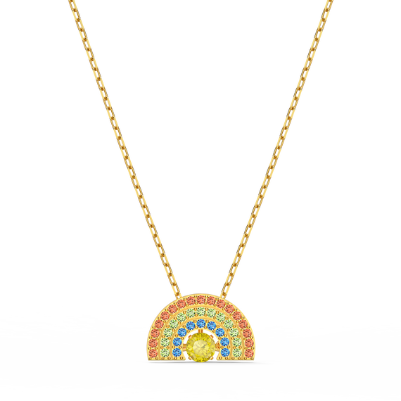 Swarovski Sparkling Dance Rainbow Necklace, Light multi-colored, Gold-tone plated