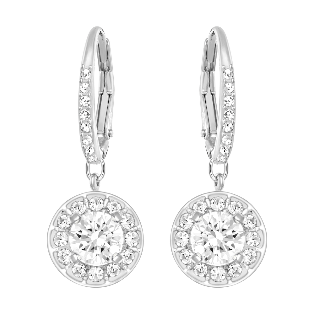 Attract Light Pierced Earrings, White, Rhodium Plating