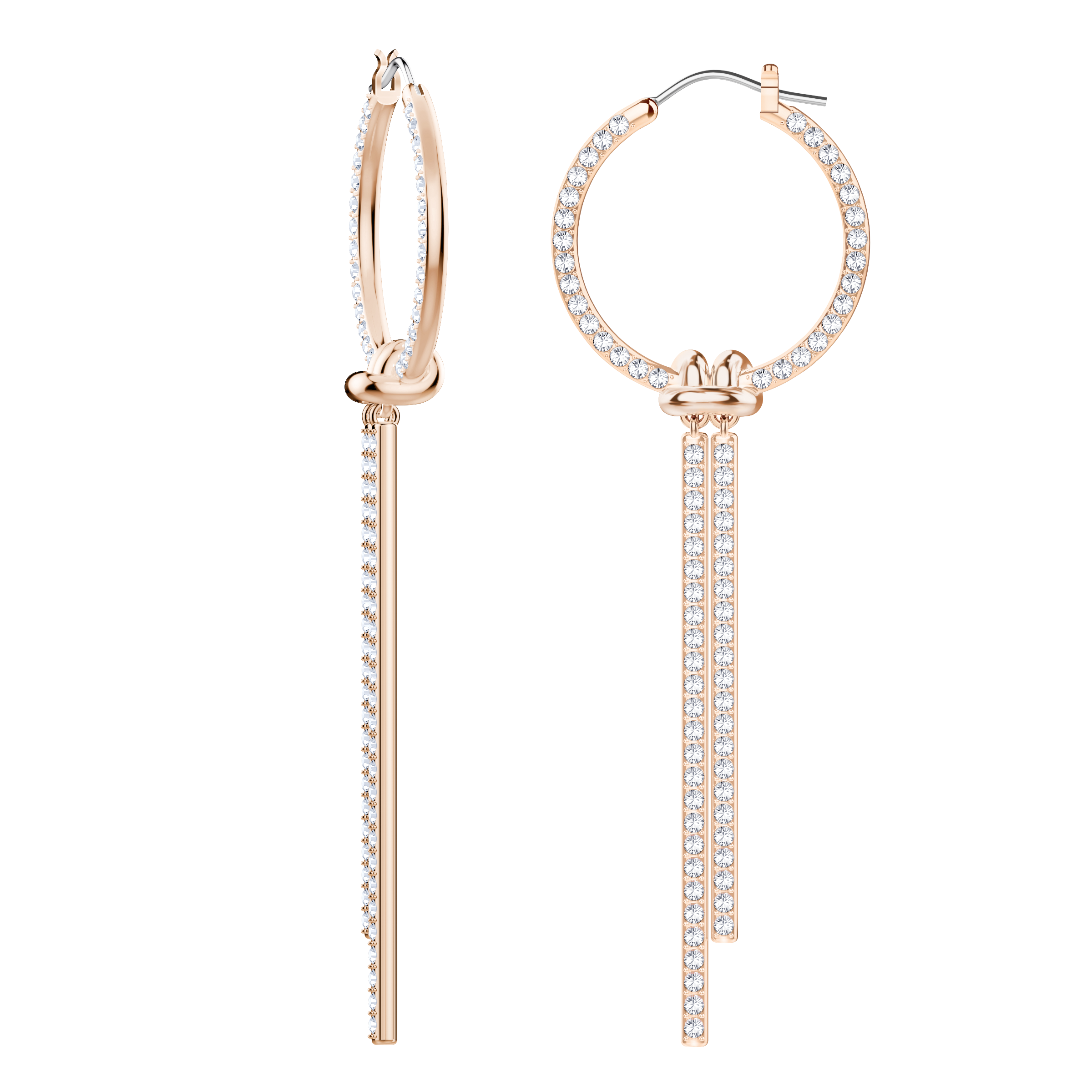 Lifelong Hoop Pierced Earrings, White, Rose Gold Plating