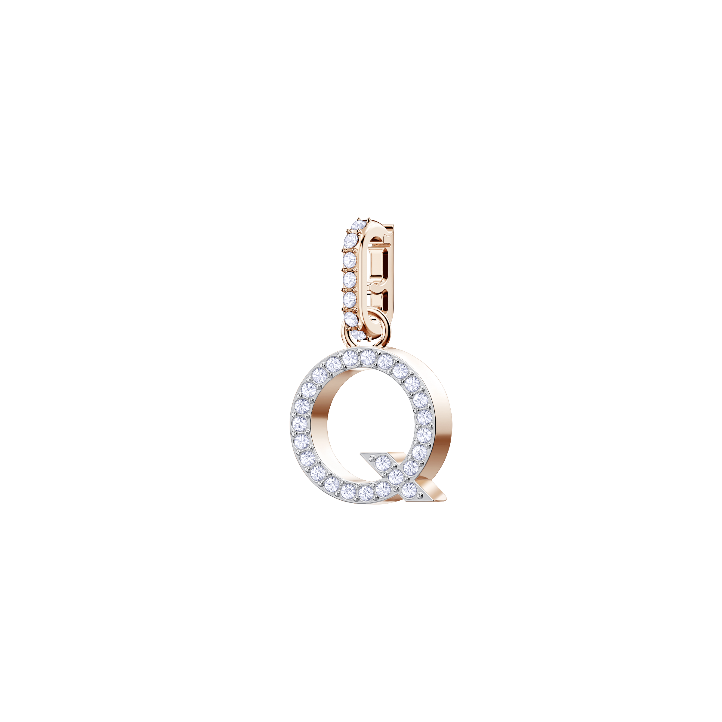 Swarovski Remix Collection Charm Q, White, Rose Gold Plating