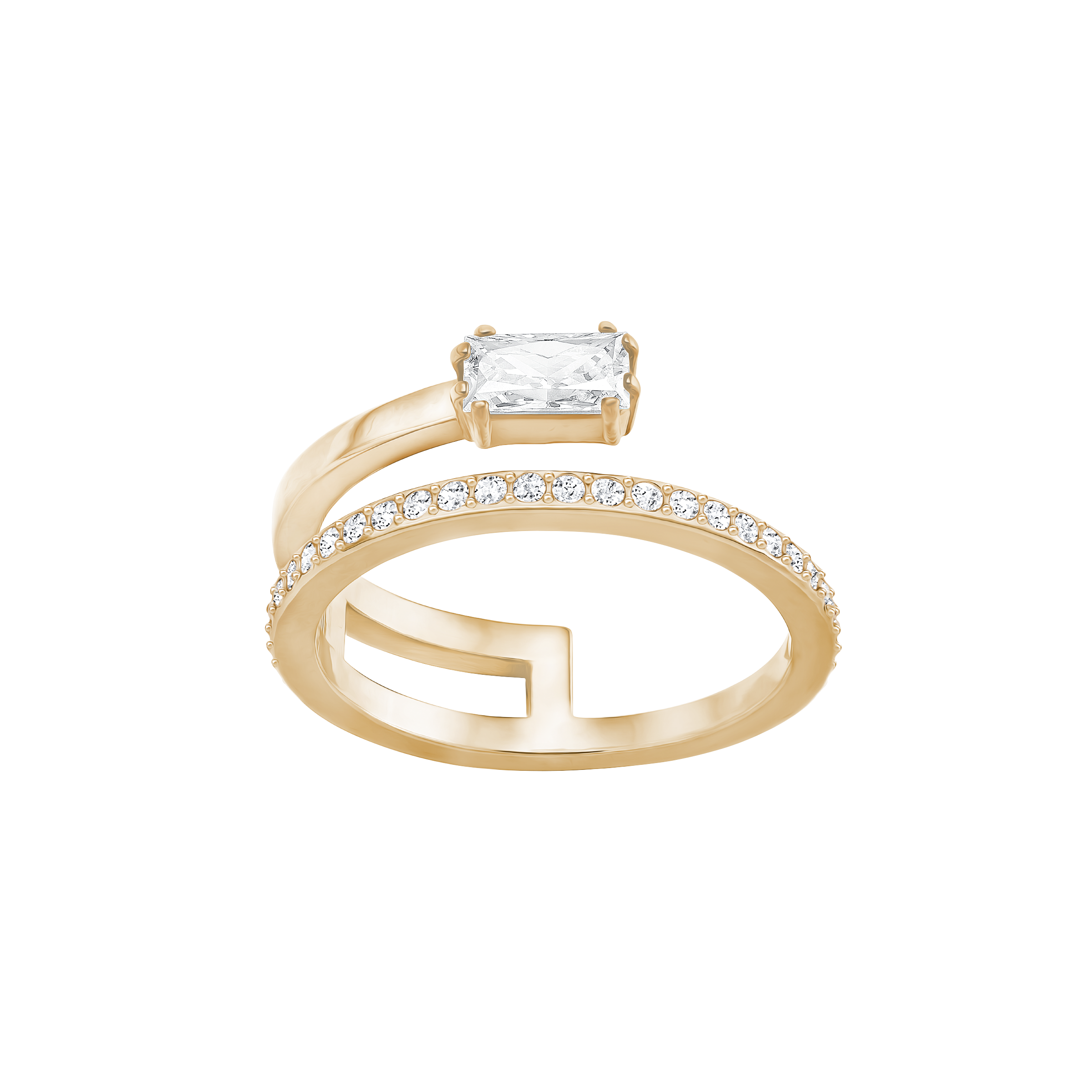Gray Ring, Small, White, Rose-gold tone plated
