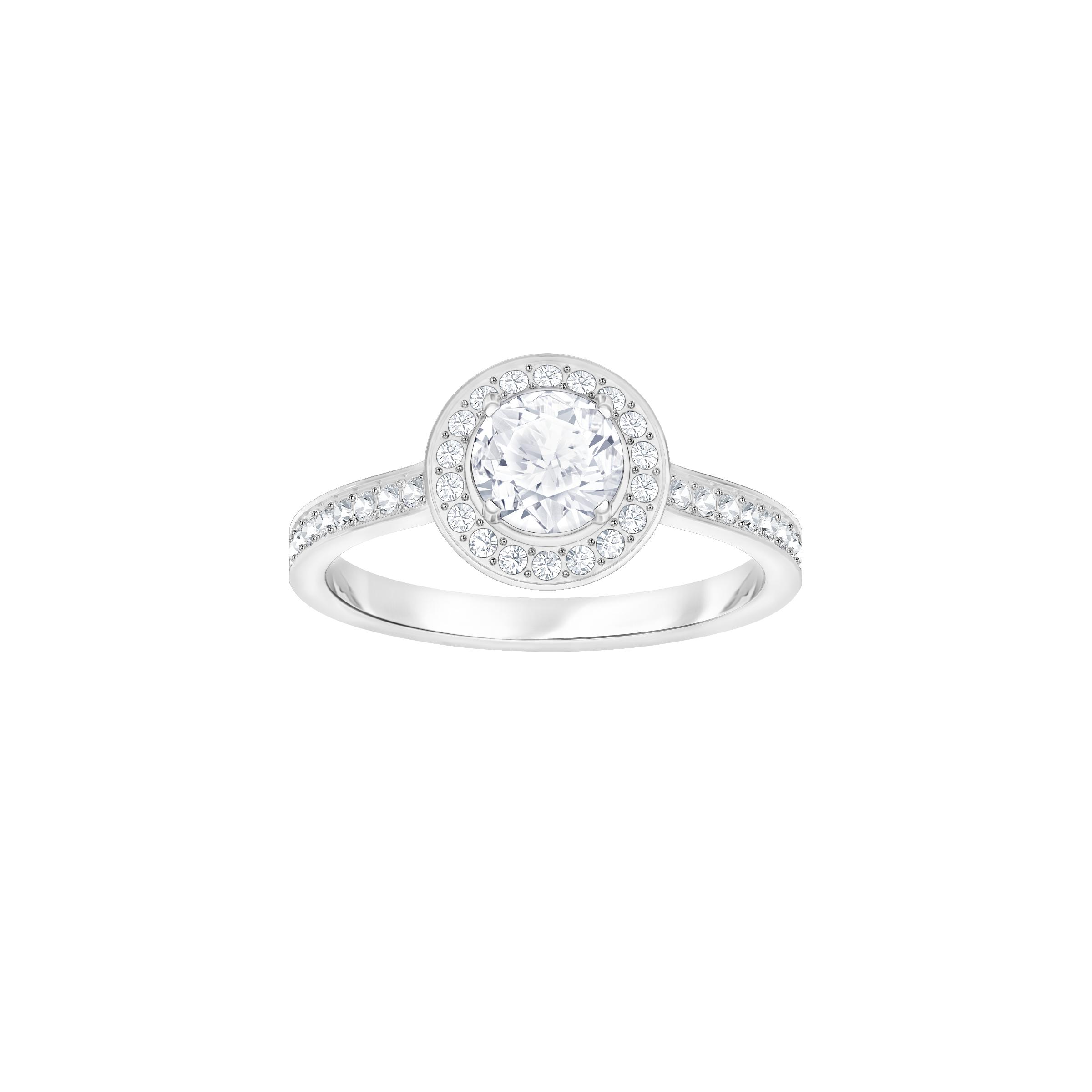 Attract Light Round Ring, White, Rhodium Plating