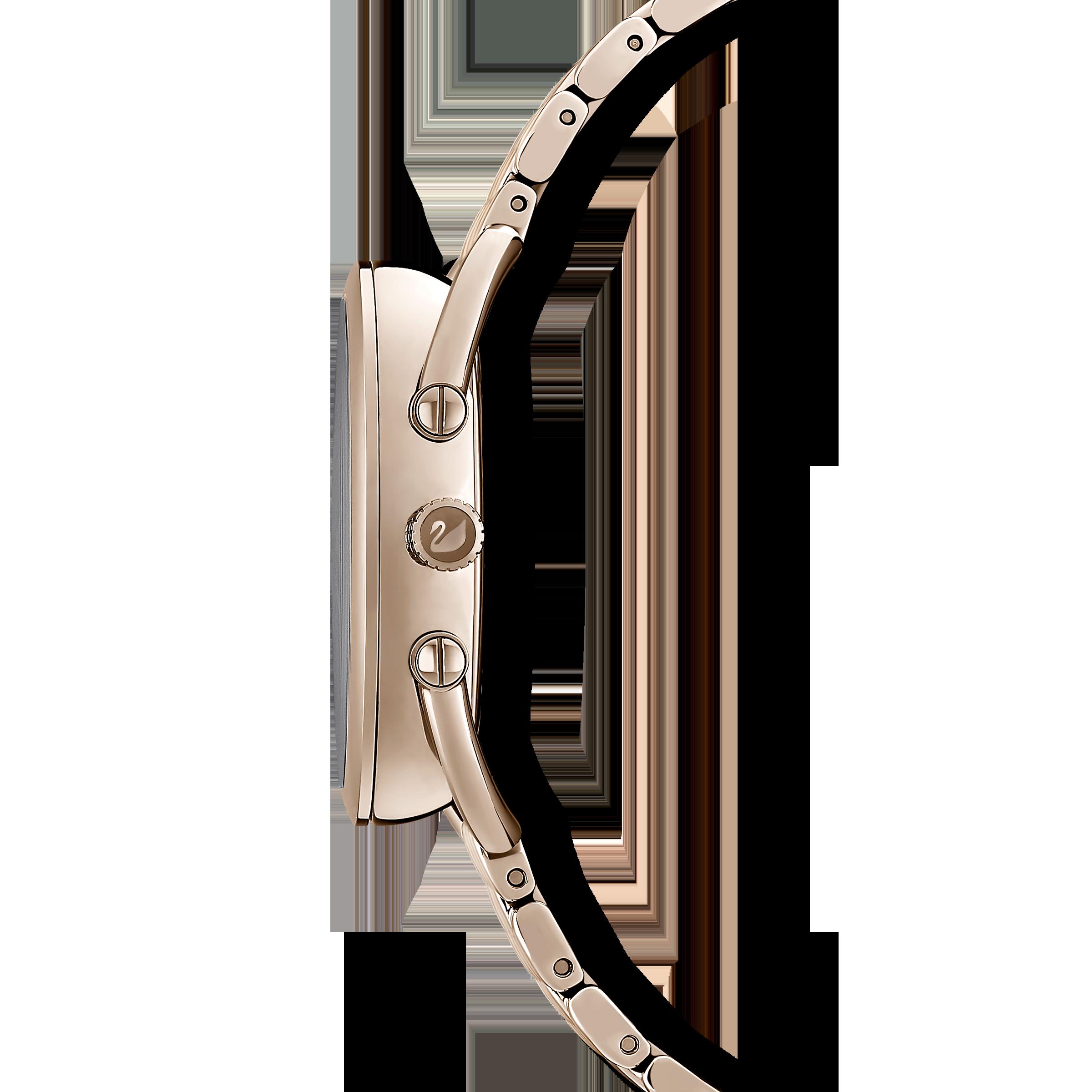 Crystalline Glam Watch, Metal Bracelet, White, Champagne gold tone