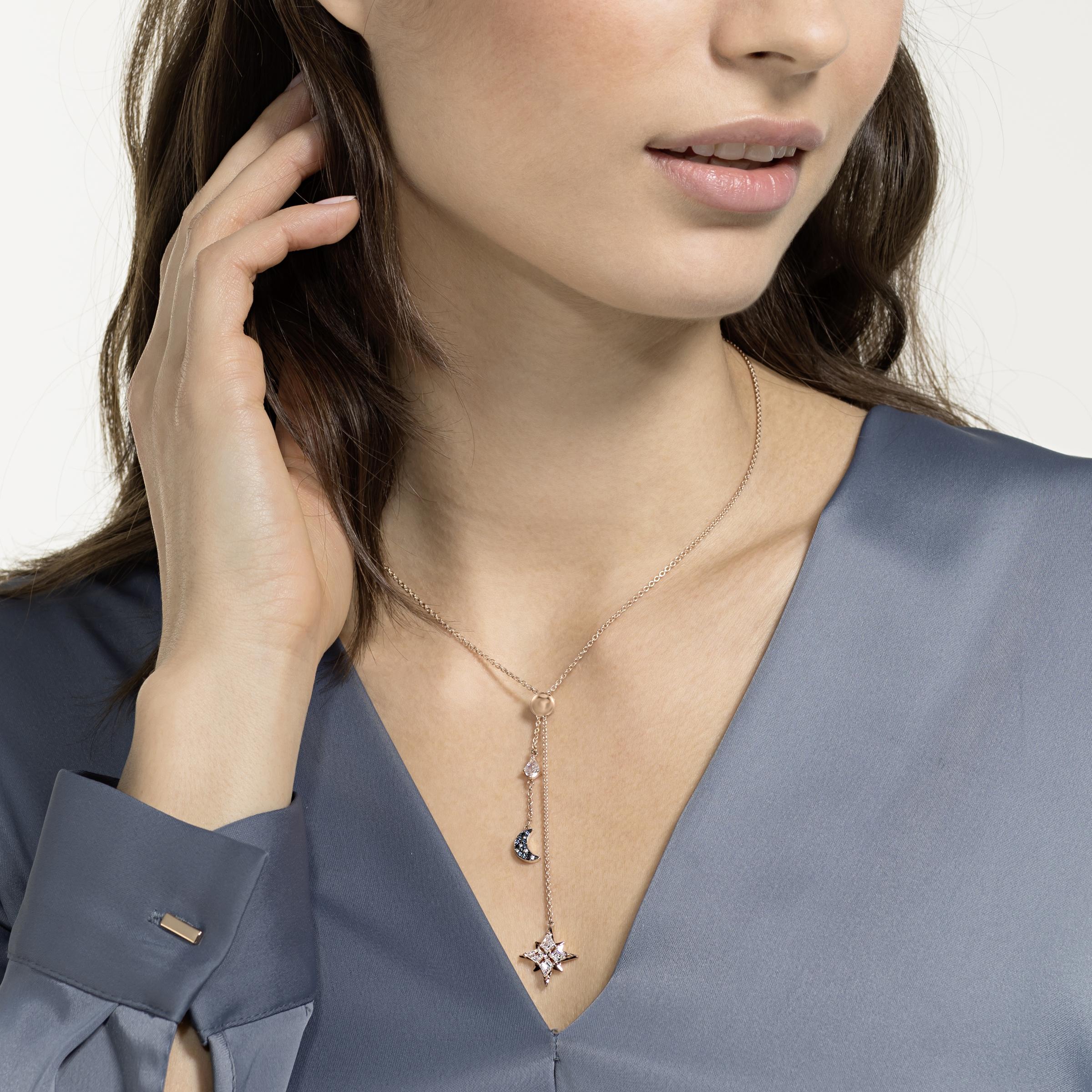Swarovski Symbolic Y Necklace, Multi-colored, Rose-gold tone plated