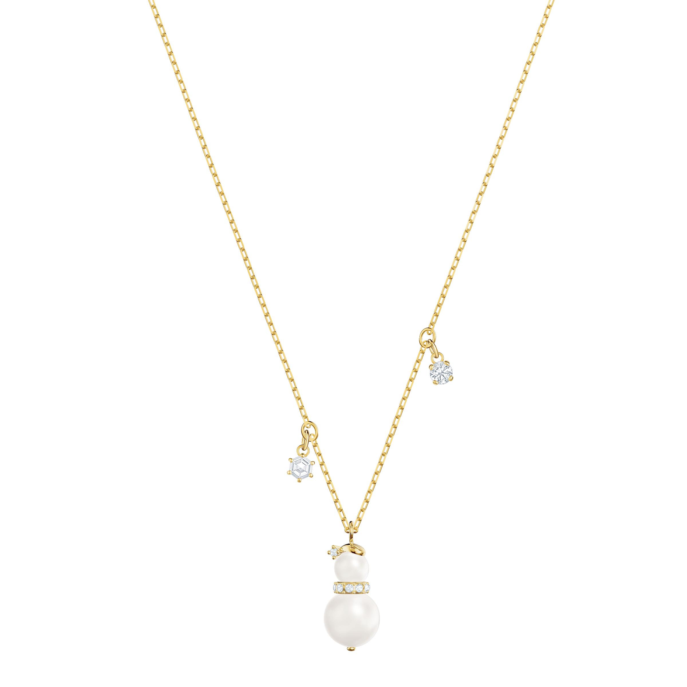 Little Snowman Pendant, White, Gold Plating