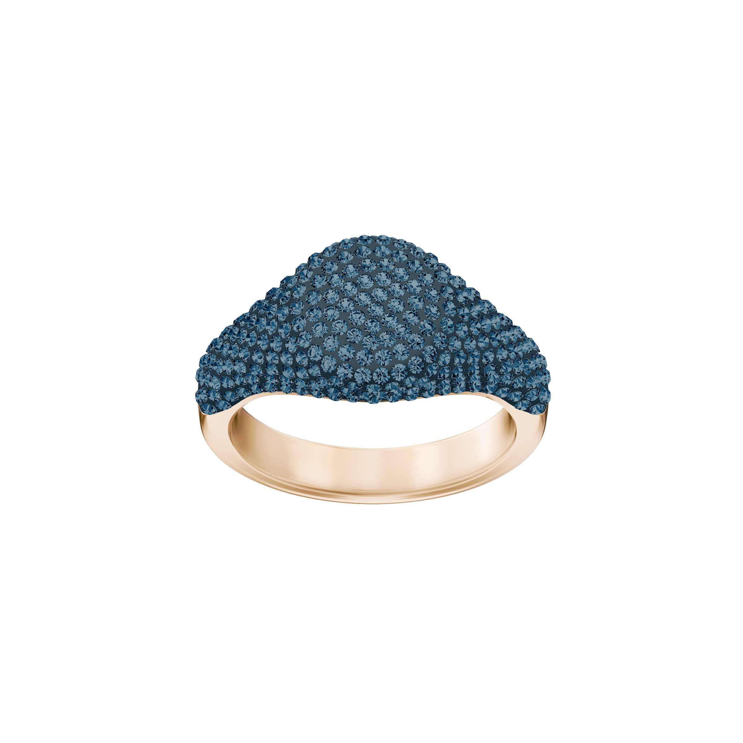 Stone Signet Ring, Blue, Rose-gold tone plated